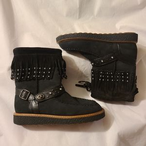 Coach Roccassin Suede Fringe Studded black Boots